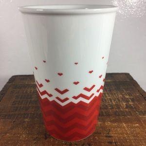 Starbucks red and white tall ceramic mug
